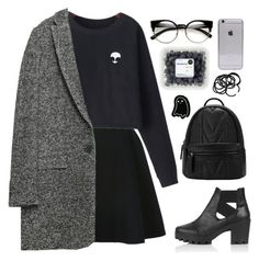 """""""Grey & Black Outfit"""" by anfisa-1996 ❤ liked on Polyvore featuring Avelon, Chicnova Fashion, Zara, Topshop, H&M, BackToSchool, outfit and black"""