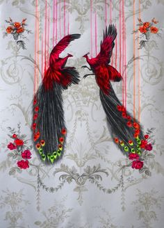 'Wild Beauty', acrylic and pencil on wallpaper, 55x65cm (05/2013) by Louise McNaught