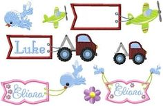 Children's Banners Set | Airplanes | Machine Embroidery Designs | SWAKembroidery.com