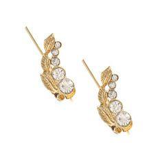 Gold Crystal Leaf Ear Pins - 4.99 euros