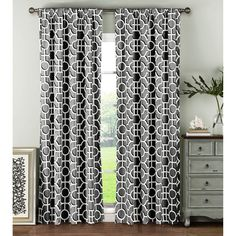 Window Elements Lenox Red and 100-percent 84-inch Rod Pocket Curtain Panel Pair -