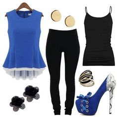 Causal outfit blue and black.