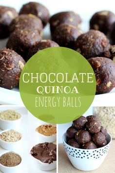 Chocolate Quinoa Energy balls for a healthy snack! Packed with protein and fiber. Healthy Desserts, Healthy Recipes, Healthy Breakfasts, Snack Recipes, Cooking Recipes, Tasty, Yummy Food, Protein Snacks, Protein Bars