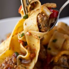 """Saucy Italian Drunken Noodles with Spicy Italian Sausage Italian """"Drunken"""" Noodles ~ The next time you're in a need of easy homemade pasta recipe try this one. Super flavoured pasta that will make your mouth water earlier you have finished cooking it! Italian Dishes, Italian Recipes, Beef Recipes, Cooking Recipes, Italian Foods, Cooking Games, Vegetarian Cooking, Noodle Recipes, Gastronomia"""