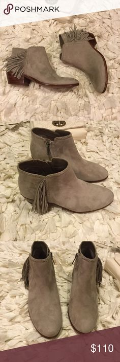 Sam Edelman Suede booties New without box. Never worn. Pictures are size 5.5 * Nubuck or suede leather upper. Fit true to size. Same day ship!!! * Side-zip closure. * Almond toe. * Braided trim. * Fringe detail at side. * Synthetic lining and footbed. * Stacked heel. * Synthetic sole. * Product measurements were taken using size 7.5, width M. Please note that measurements may vary by size. * Measurements:     * Heel Height: 1 1⁄2 in     * Circumference: 10 1⁄2 in     * Shaft: 5 in 💕no…