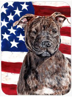 Staffordshire Bull Terrier Staffie with American Flag USA Mouse Pad - Hot Pad or Trivet SC9633MP #artwork #artworks