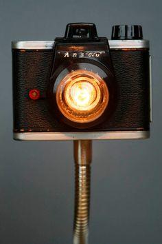 Upcycled Camera Lamp Ansco Ready Flash. $150.00, via Etsy.
