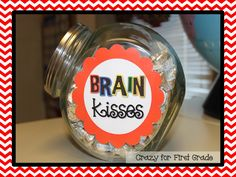 Brain Kisses! Also see this blog for CUTE classroom set up ideas!!! Very colorful!
