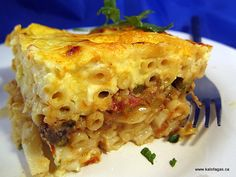 Pastitsio dish that contains no meat  whatsoever,  but delicious!!