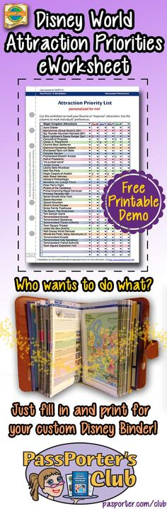 "Prioritize your ""must-see"" attractions for a Walt Disney World vacation with this e-worksheet. This five-page set has a chart for Magic Kingdom, Epcot, Disney's Hollywood Studios, and Disney's Animal Kingdom, plus an extra blank one for a water park or another park. Attraction names are pre-filled into the drop-down menus, but you can also completely customize this chart by typing your own names."