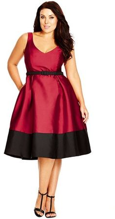 Plus Size Party Dress - Plus Size Belted Colorblock Fit & Flare Dress