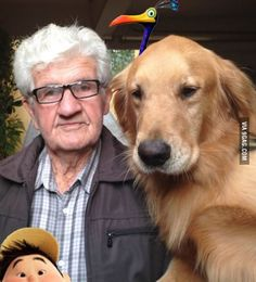 I think my grandpa and my dog had a role in a Pixar movie... (unfortunately, I don't know any Russel or Kevin).