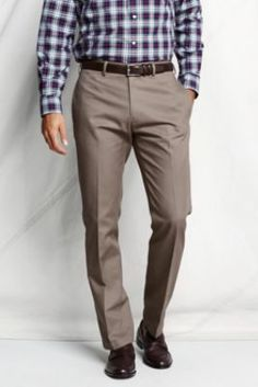 Men's Plain Front Straight Fit No Iron Chino Pants from Lands' End