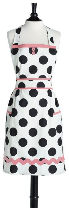 Look at this Jessie Steele Dancing Dots Doris Apron on today! Retro Apron, Aprons Vintage, Pink Apron, White Apron, Cute Aprons, Sewing Aprons, Kitchen Aprons, Couture, Sewing For Beginners