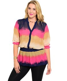 Ashley Stewart Multi Color Striped 3/4 Sleeves Peplum Top Plus Size 12-26 #AshleyStewart #Blouse #Career