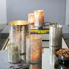 Crackle Ribbed Hurricanes | west elm - very pretty different sizes