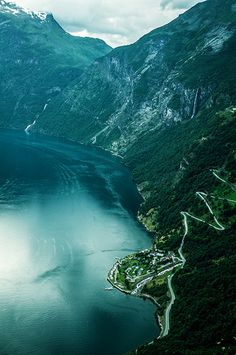 Geiranger fjord and Eagle Road, Geiranger, Norway.
