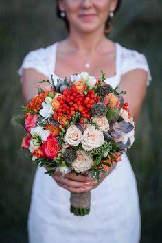 Шикарный осенний букет невесты