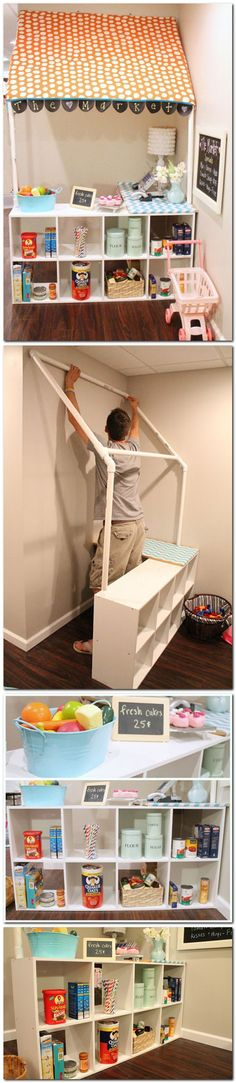 DIY Childrens grocery store - would be cute for a reading corner or play kitchen Kids playroom ideas