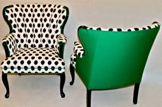 Pair of Shell Chairs in Emerald Green and Black and White Ikat on Etsy, $795.00