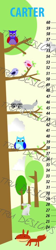 Items similar to Animals in a Tree kids Growth chart made in canada on Etsy Flag Banners, Creative Design, Wedding Invitations, My Etsy Shop, Canada, Printables, Chart, Prints, How To Make
