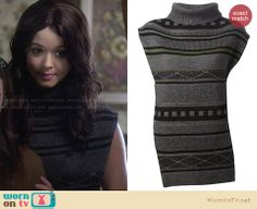 Alison's grey patterned sleeveless turtleneck sweater on Pretty Little Liars. Outfit Details: http://wornontv.net/28989 #PLL #fashion