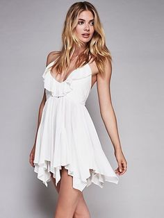 New Free People Solid Ruffle Fit and Flare Semi Sheer Rayon Mini Dress Ivory L #FreePeople #MiniDressAsymmetricalHem #Versatile