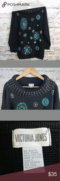 Turquoise Beaded Cowl Neck Embellished Sweater VTG Vintage Victoria Jones  Women's Size Large  Black with Turquoise/Teal and Silver Embellished Beads Cardigan Sweater   Excellent Pre-Owned Condition: No Snags, Rips, Holes, Smoke Smells, or Stains!    Smoke Free Home. Victoria Jones Woman Sweaters Cowl & Turtlenecks