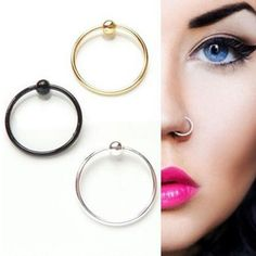 Fashion Stainless Steel Captive Bead Rings Eyebrow Nose Lip Tongue Piercing Ring Bar Lips Hoop Body Piercing Jewelry