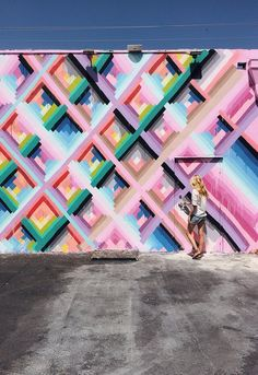 Colorful geometric painted wall