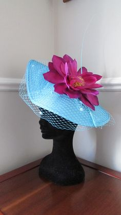 Turquoise Blue Ascot Racing Hat Aqua by HatCoutureDesigns on Etsy Ascot Ladies Day, Aqua, Turquoise, Kentucky Derby, Headpieces, Fascinator, Racing, Trending Outfits, Unique Jewelry