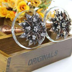 Glass Curtain Tiebacks Antique Brass Metal / by JackAccessories, $13.00