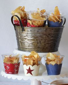 Individual Chip Cups: Use clear 9 ounce SOLO cups. Drop each cup into Dessert Skirtz in Rustic Americana (or festive cupcake liners) & use double stick tape to keep it in place. Now, fill each cup with a dollop of dip & serve a large bowl of chips alongside. Guests can add chips to their cups & dip to their heart's content.
