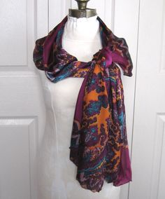 psychedelic scarf . psychodelic wrap . purple scarf . oversized scarf . polyester scarf by vintagous on Etsy