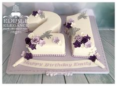 Gorgeous lavender, purple and white number cake for a 21st birthday