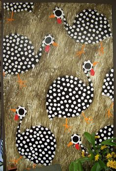 """guinea hen painting by """"Cornbread"""" (folk artist)"""