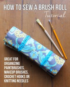 Get your stuff organized with this step-by-step tutorial for sewing a brush roll. It's the perfect way to organize makeup brushes, crochet hooks, paintbrushes, or markers!