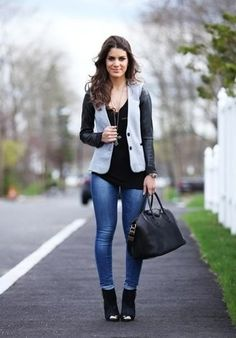 Women's Grey Blazer, Black V-neck Sweater, Blue Skinny Jeans, Black Suede Ankle Boots