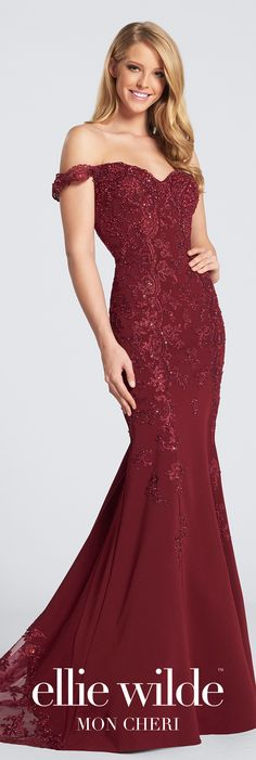 Beaded lace evening dress. Off-the-shoulder fit and flare gown with dropped waist, sheer illusion back, scalloped lace illusion inset sweep train.