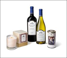 COUNTESS OF GRANTHAM GIFT SET:  This lovely pack will take you back to the Abbey even when the drama has ended. Downton Abbey Wine Chardonnay and Cabernet Sauvignon pair with English Rose Tea and a French Claret candle.