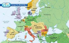 map of Europe pre-World War 1--this is important to have, because after World War 1, the maps change!