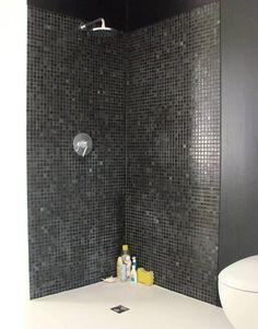Black-glass, spanish mosaic tile, with white concrete floor.