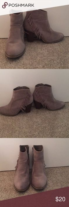 "Grey fringed bootties (size 10) Very stylish and sleek grey 3"" heeled booties with fun fringe detail! Got them at a boutique and the brand is Bauboo. They are lightly worn but you can only tell by the light wear on the bottom (last photo) Shoes Ankle Boots & Booties"