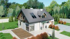 DOM.PL™ - Projekt domu Dom przy Alabastrowej 6 CE - DOM EB3-86 - gotowy koszt budowy Small House Design, Design Case, Malaga, Home Fashion, Cladding, Home Projects, Layout, Cabin, Mansions