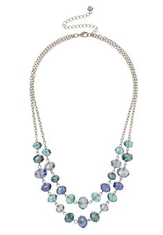 Blue Double Row Glass Bead Necklace available at #Maurices