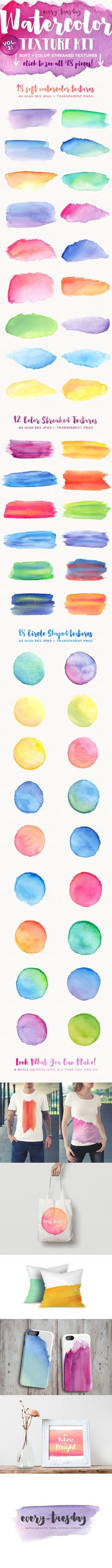 The watercolor trend! Watercolor Texture Kit Vol. 2 by everytuesday on Creative Market