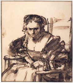 Rembrandt van Rijn Drawings A YOUNG WOMAN SEATED IN AN ARMCHAIR c. 1654-60 163 x 143 mm. British Museum, London