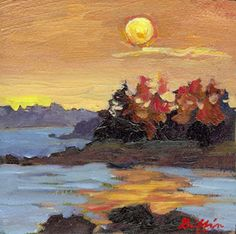 "Daily Painters Abstract Gallery: Colorful Landscape , Waterscape Sunset Oil Painting ""Tangerine Sky"" by Western Masters Artist Patricia A.Griffin"