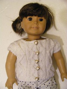 A cute little american girl sweater knitting aran cable vest doll