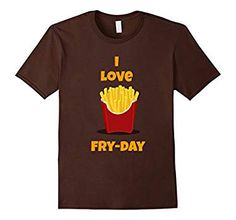 Men's I love Fry-Day(Friday) t shirt 3XL Brown